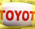 advertising blimp with Toyota logo